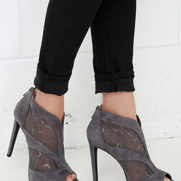Jessica Simpson Adaway Thunder Grey Kid Suede and Lace Booties