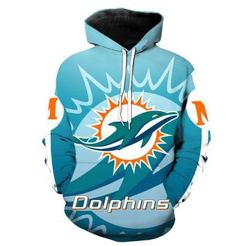 Miami Dolphins Hoodie Fashion 3D hooded pullover streetwear NFL American football sweatshirt