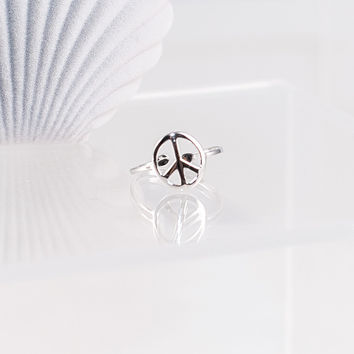 100% Sterling Silver Peace Ring