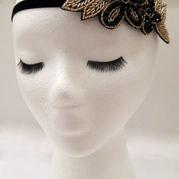 The Flora - beaded flower headband, Downton Abbey headband, floral headpiece, black gold flower, bohemian headband, nature inspired hair