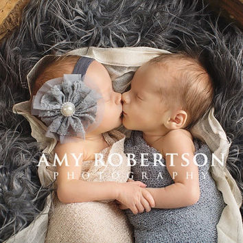 Baby Headband- Grey Ruffled Lace and Tulle Flower with Pearl Center on Soft Charcoal Grey Elastic Headband