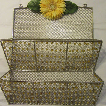 Yellow and White Beaded Metal Organizer - Up-Cycled and Cottage Chic - Large Yellow Flower Accent
