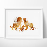 The Lion King Family , Disney Watercolor Art, Nursery Watercolor Art, Wall Art Print, Watercolor Painting, Kids wall art (202)