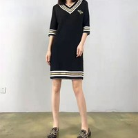 """Gucci"" Fashion Casual Embroidery Bee Multicolor Stripe V-Neck Middle Sleeve Knit Mini Dress"