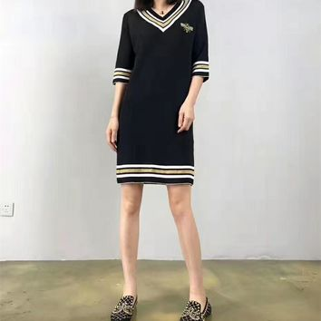 """""""Gucci"""" Fashion Casual Embroidery Bee Multicolor Stripe V-Neck Middle Sleeve Knit Mini Dress"""