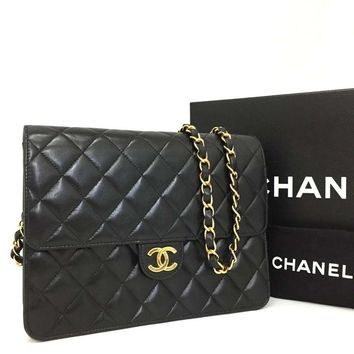 Chanel Classic Flap Black Lambskin NEAR NEW 5695 (Authentic Pre-owned)