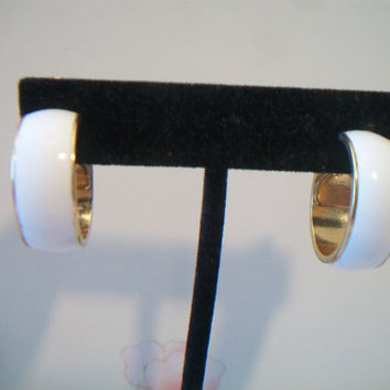 Vintage Monet White Enamel Hoop Clip On Earrings Designer Signed Jewelry