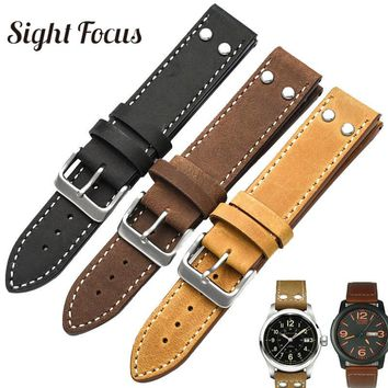 Military Style Nubuck Leather Watch Band for Hamilton Watch Strap Field Avaition Man 20 22mm Bands Black Brown Bracelet for Men