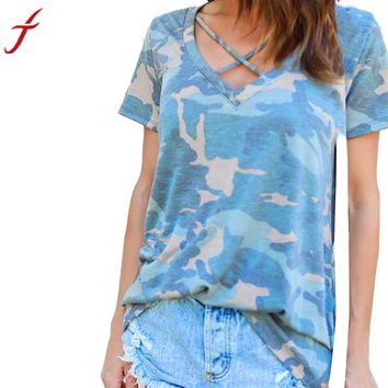 Crisscross Front Women T-shirt Camouflage V Neck Short Sleeve Tops Cotton Shirt summer casual tee tops clothing