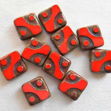 Lot of ten 10mm x 10mm square opaque bright red table cut, picasso Czech glass beads with dots C14101