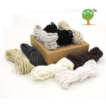 Organic Crocheted Cords,shade Grey White DIY rope 40 meters handmade artisan woven cord, 32 colors handmade EA40