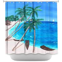 Tropical Shower Curtain, bathroom accessories, Ocean decor for bathroom, palm tree Shower curtain