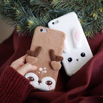 3D Cute Animal Rabbit Felt Soft Silicon TPU Case For iPhone 6 6s Plus 7 Plus For iPhone 8 Plus Full Cover Plush Felt Cases Phone