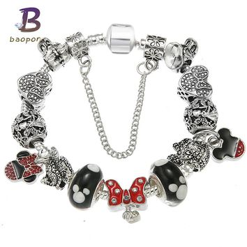 BAOPON Silver Plated Crystal Charm Bracelets for Women With Mickey Beads Bracelets & Bangles DIY Jewelry Pandora Bracelet