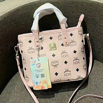 MCM Fashion Women Leather Satchel Handbag Tote Shoulder Bag Crossbody Pink