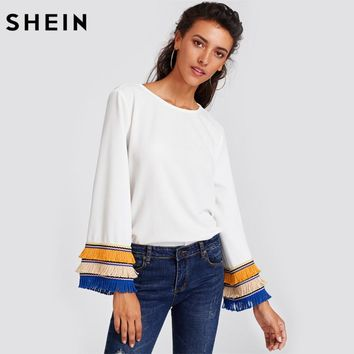 Embroidery Tape And Fringe Bell Sleeve Textured Blouse Women White Blouse Autumn Women's Long Sleeve Tops