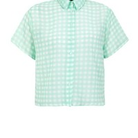 Coral 1/2 Sleeve Gingham Boxy Shirt
