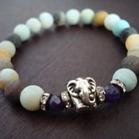 Women's Peace & Joy Mala Bracelet - Amethyst and Amazonite Elephant Mala Bracelet - Yoga, Buddhist, Meditation, Jewelry