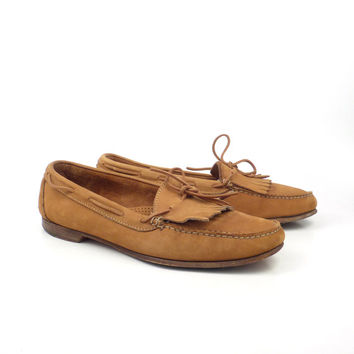 Leather Penny Loafers Vintage 1980s Bass Weejuns Carmel Brown Shoes Dress Men's size 11 1/2