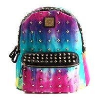 ZLYC Women's Tie Dye Gradient Studded Backpack School Bag