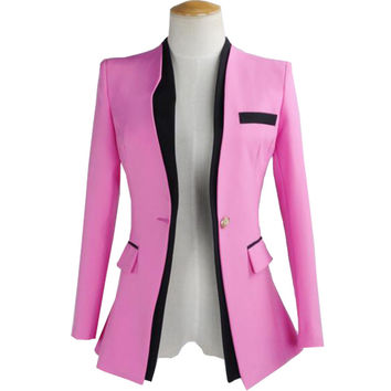 2017 New Arrival Women Suit Blazer Notched Collar Ladies Block Patchwork Jacket Long Slim Korean Ol Suit Jackets and Coat