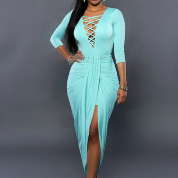 Turquoise V-Neck Cut Out Midi Dress