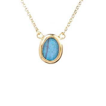 Gold butterfly necklace  - Iridescent Blue Oval Morpho Didius