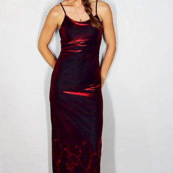 Vintage Maxi Dress, Formal Dress, Burgandy Red Wine Maroon, XS Extra Small, Christmas Shiny Dress, 90s Grunge Glam