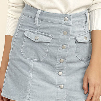 Rhythm Pennylane Light Blue Corduroy Mini Skirt