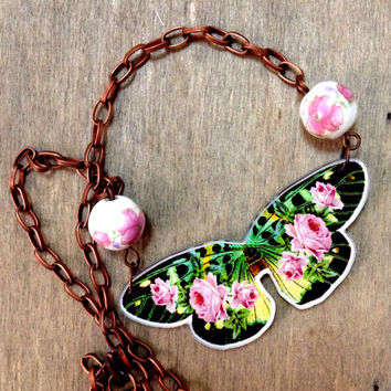 """Romantic colorful Green Pink floral roses Vintage Butterfly Charm with """"Chinese Painting"""" Porcelain Beads Summer Spring statement necklac"""