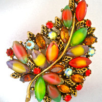 Multi Colored Brooch Signed ART, Art Glass Givre, Rhinestones, Antique Bronze Vintage