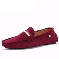 Driving Red Suede Leather Slip on Shoes