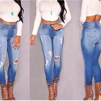 Fashion Online Women's Jeans Female High Waist Hole Jeans High Quality Not The Poor