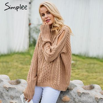 Cold Shoulder Knitting Pullover Casual Autumn Winter Sweater Women Twist Jumper Hollow Out Fashion Warm Sweater Female