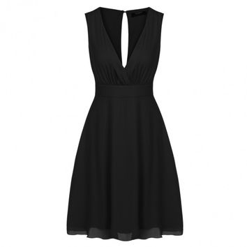 Women Deep V-Neck Sleeveless A-Line Pleated Cocktail Party Dress