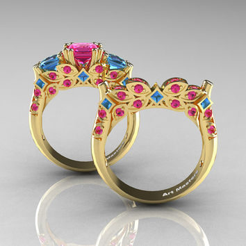 Classic 14K Yellow Gold Three Stone Princess Pink Sapphire Blue Topaz Solitaire Ring Wedding Band Set R500S-14KYGBTPS