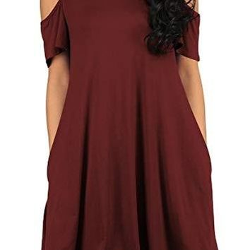 STYLEDOME Women's t Shirt Dress Cold Shoulder Tunic Top Swing T-Shirt Loose Dress with Pockets