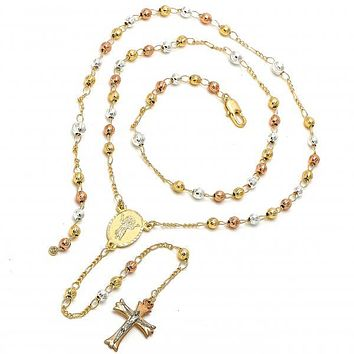 Gold Plated 09.59.0033.24 Thin Rosary, Divino Niño and Crucifix Design, Diamond Cutting Finish, Tri Tone