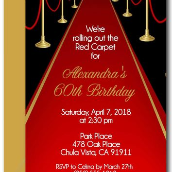 Red Carpet Birthday Invitations