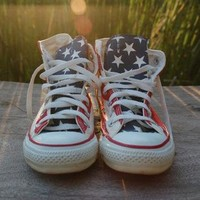 American Flag Converse All Star Vintage Stars and Bars Made in the USA Chucks Red Whit