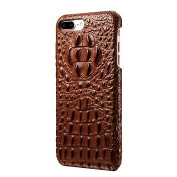 For Fundas iPhone 7 Plus Case Cover Hard Back Cover For iPhone 8 Plus Case Luxury 3D Genuine Leather Protective Phone Cases