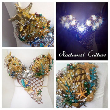 Custom order reserved for Jackie: Snow leopard rave bra; Golden Mermaid rave bra