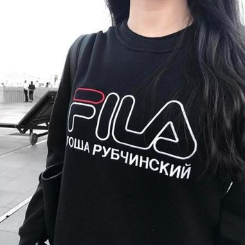 FILA Trending Women Men Loose Letter Embroidery Round Collar Pullover Top Sweater Black I