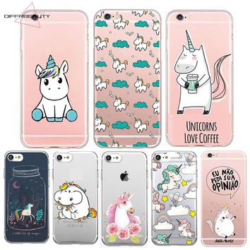 DIFFRBEAUTY Cute Unicorn Cartoon Transparent Ultra Thin Soft Silicone Phone Case Back Cover For iPhone X 6 S 7 8 Plus 5S Samsung