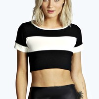Nina Bandage Rib Block Stripe Crop Top