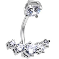 Clear Cubic Zirconia Walk a Five Line Belly Button Ring