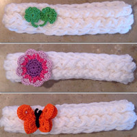 Girls Baby Infant Knitted Headband With A Crocheted Flower or Shamrock