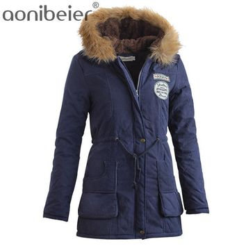 Women Warm Winter Thick Fur Lined Hooded Coat