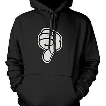 Men's Graphic Hoodies - Thumbs Down Black Hoodie Disney Mickey Hoodie