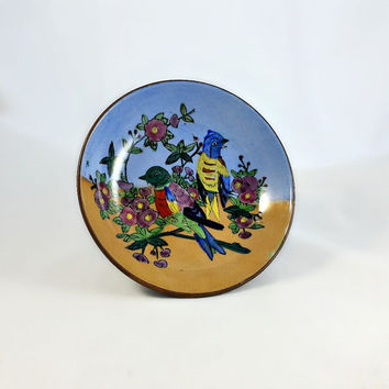 Enameled Bowl - Bird Decor - Vintage Handpainted Enamel Bowl - Encased Chinese Brass Bowl